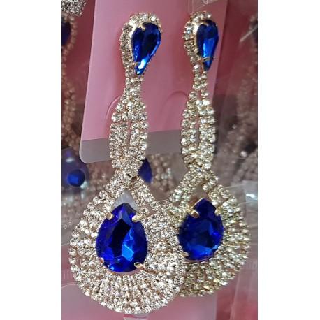 Oriental rhinestones and stone earrings