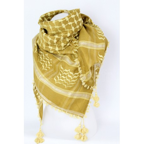 Afghan scarf Yellow and beige