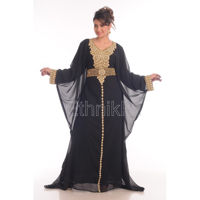 Black Dubai kaftan Beaded Million Diamond Sparkling Stone dress